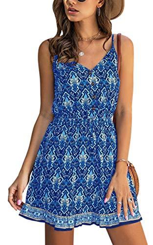 Spec4Y Damen Kleider Kurz Blumen Sommerkleid Swing V Ausschnitt Ärmellos Minikleid A Linie Skatekleid 185 Blau Medium