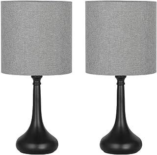 Juego de 2 lámparas para mesita de noche, vintage, metal, base redonda, lámpara de mesa con pantalla de tela, para dormitorio, oficina, salón, gris