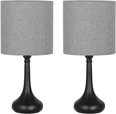 Lot de 2 Lampes de Chevet Vintage Métal Base Ronde Lampe de Table avec Tissu Abat-Jour pour Chambre Bureau Salon Gris