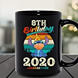 N\A 8th Birthday Celebration 2020 Quarantined Stitch Social Distancing Tazza in Ceramica Tazze da caffè grafiche Tazze Nere Top da tè novità Personalizzata 11 Oz