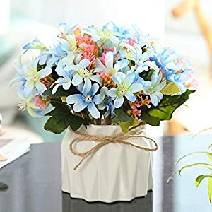 Nordic Simulation Floral Artificial Flower Silk Flower Small Potted ins Indoor Home Creative Decoration Living Room Desk Decoration Artificial Flower-Narcissus Blue