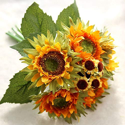 Wedding Party Clearances, 5 Heads Beauty Fake Sunflower Artificial Silk Flower Bouquet Home Floral Decor, Home Decor Accessories Home 4th of July Decorations Gifts On Sales