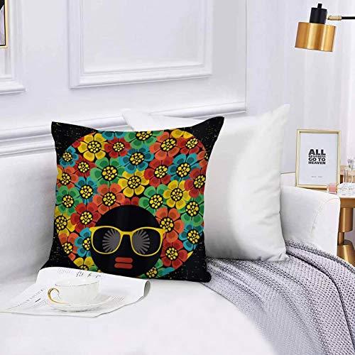 Lilatomer Funda de algodón 45 x 45 cm Retrato de Mujer Abstracta Estilo de Pelo con Flores Coloridas Gafas de Sol Labios, Sofá Throw Cojín Almohada Caso de la Cubierta para Sala de Estar 45x45cm
