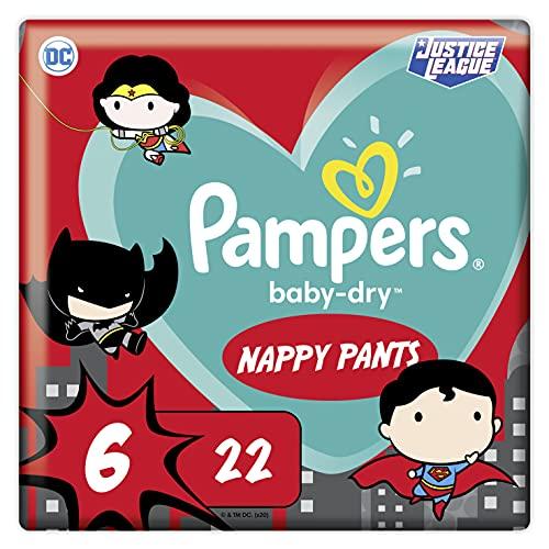 Pampers Baby-Dry Pants 6, 22 Höschenwindeln, Einfaches An- und Ausziehen, Zuverlässige Pampers Trockenheit, 15kg+, 22 Stück