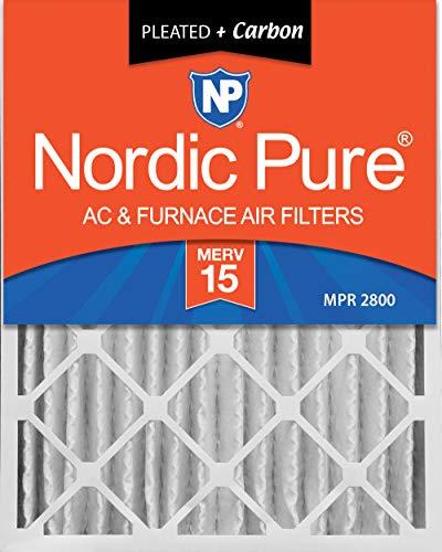 Nordic Pure 20x25x4 (3-5/8 Actual Depth) MERV 15 Plus Carbon AC Furnace Air Filter, Box of 6