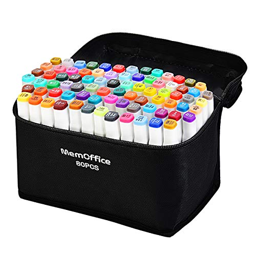 Memoffice 80 colores marcadores de alcohol de doble punta, set de marcadores artísticos para niños adultos, marcadores a base de alcohol con estuche de transporte para diseño de anime, pintura, gran idea de regalo