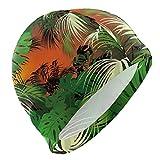Tcerlcir Gorro Natación Palmera de Hojas Verdes Tropicales Gorro de Piscina para Hombre y Mujer Hecho de Silicona Ideal para Pelo Largo y Corto