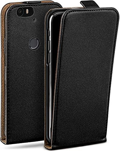 moex Flip Hülle für Huawei Nexus 6P Hülle klappbar, 360 Grad R&um Komplett-Schutz, Klapphülle aus Vegan Leder, Handytasche mit vertikaler Klappe, magnetisch - Schwarz