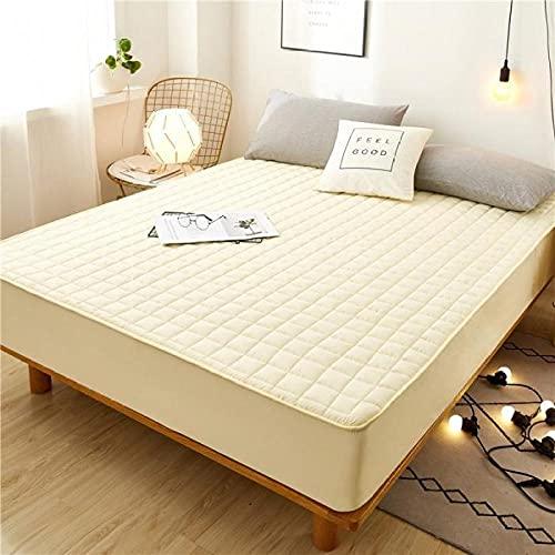 CYYyang Protector de colchón Transpirable.Rizo Bambú. Sábana de una Pieza Transpirable Engrosada a Prueba de polvo-16_200 * 220cm