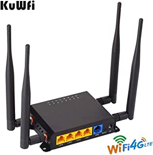 KuWFi 300Mbps 3G 4G LTE Car WiFi Wireless Router Extender Strong Signal OpenWRT Car WiFi Routers with USB Port SIM Card Slot with External Antennas for USA/Canada/Mexico SIM Card