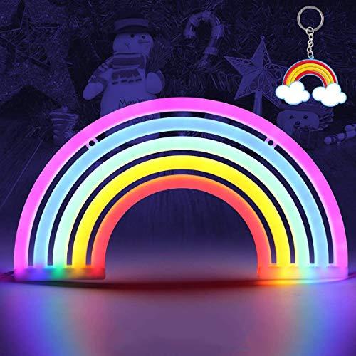 Rainbow LED Neon Signs Rainbow Night Light Bedroom Wall Light Lamp Rainbow Neon Light Battery or USB Operated Neon Signs Wall Decor Neon Lights Bedroom