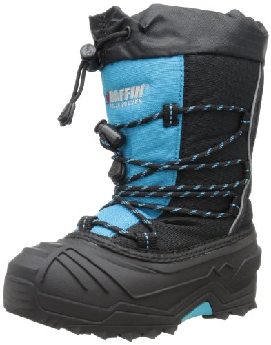 Baffin unisex-child Young Snogoose Insulated Boot, Black/Electric Blue, 13 M US Little Kid