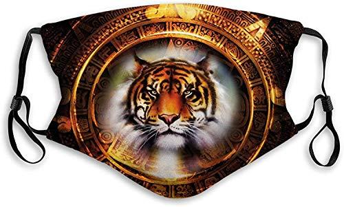 Fillter - Paño bucal 3D para adultos y niños, diseño de calendario maya antiguo con cabeza de gato cazador grande sabio felino culturas viejas y antipolvo, lavable y reutilizable