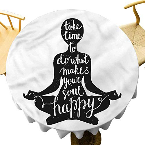 Round Upscale Tablecloth Silhouette with Quotation. Outdoor Picnic Table Diameter 60'