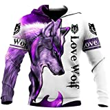 Purple Wolf 3d All Over Printed Hoodie Wool Long Sleeves With Pocket Black Full Size S-5XL With Unisex American Wolf
