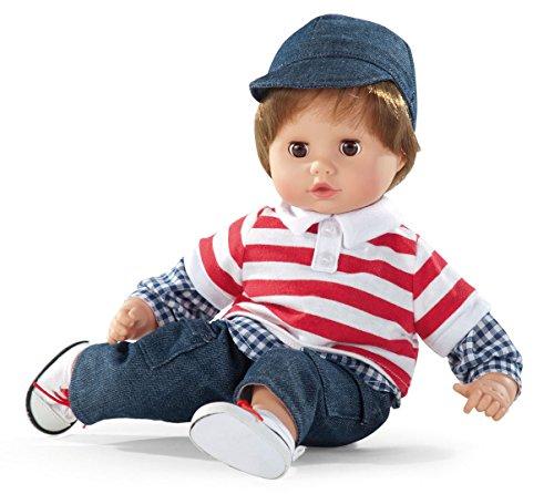 Götz 1220980 Muffin Junge Puppe - 33 cm große Babypuppe mit Weichkörper, braune Schlafaugen, braunen Haaren - Weichkörperpuppe in 7-teiligen Set