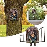 Gartendeko Harz Gnom Statue,3 Stück Gartenzwerge wetterfest,Schelmischer Gnom Gartenstatuen, Baum Fensterharz Garten Figuren, Wunderliche Baum Skulptur Garten Dekoration (3PC)