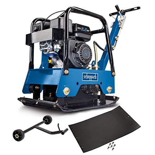 scheppach HP2500S Benzin-Rüttelplatte - 6,5 PS   Verdichtungstiefe: 40 cm   Vorlaufgeschwindigkeit: 25 m/min   inkl. Gummimatte und Fahrvorrichtung