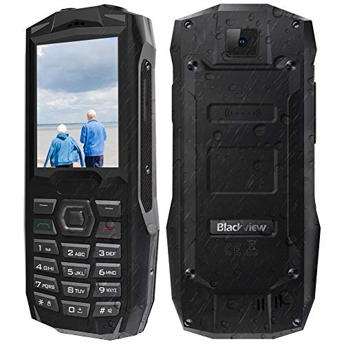 Telephone Portable Incassable, Blackview BV1000 Téléphone Senior avec Grandes Touches, IP68, 3000mAh Power Bank, Lampe de Poche 50M, Doubles Carte SIM, Haut-Parleur de Boîte, Radio FM (Noir)
