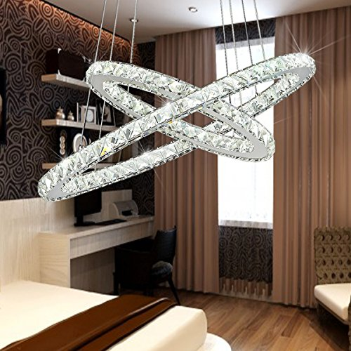 Lampadario da soffitto Tenlion in cristallo a LED, lampadario a sospensione con due anelli ovali, 40 x 60 cm, luce naturale per sala da pranzo, soggiorno, camera da letto, studio, ecc.