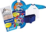 Pelikan Blue Space Farbkasten mit 12 Farben und 1 Deckweiß (im Set mit einem farblich passendem Special Limited Wasserbecher + großem Pinsel-Set + Schürze)