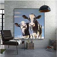 牛の写真リビングルームの壁画装飾ポスター家の装飾絵画キャンバスに印刷60x60cmフレームなし
