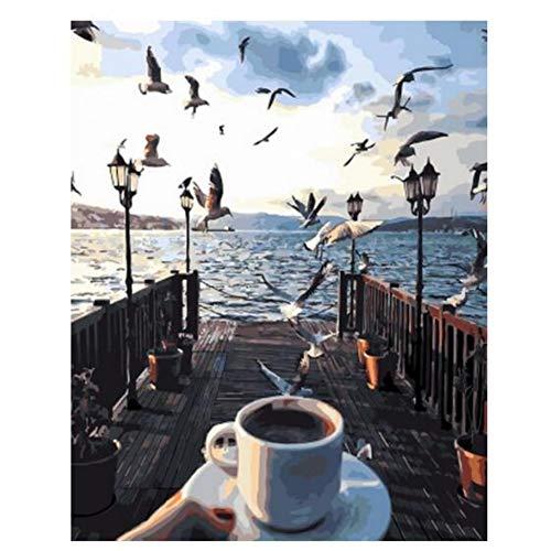 N/A DIY Digitale Malerei Kaffee Nachmittag mit Vögeln Pinting durch Zahlen Handgemachte Ölgemälde auf Wandbild Kunst Home Decoration-Rahmenlos,16 * 20inch