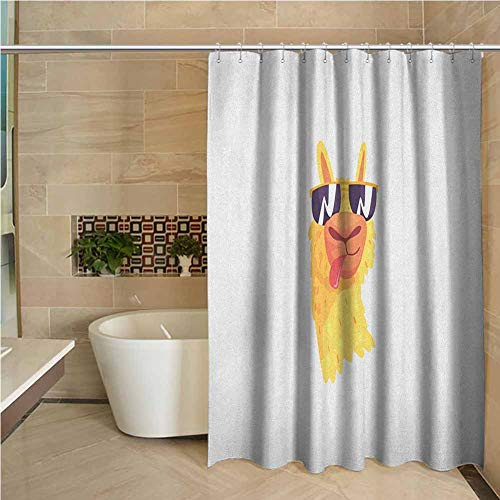 Llama Shower Curtain with Hooks Eco Friendly 60x72 inch Funny Sunglasses Wearing Farm Animal Cartoon Character South American Mascot Design Multicolor