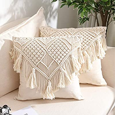 Throw Pillow Covers, Macrame Cushion Case, Woven Boho Cushion Cover for Bed Sofa Couch Bench Car Home Decor, Comfy Square Pillow Cases with Tassels, Set of 2 Decorative Pillowcase (17X17 inch, Cream)