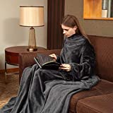 Viviland Fleece Wearable Blanket with Sleeves & Foot Pocket for Adult Women Men, Plush Throw with Adjustable Hook & Loop for Lounge Couch Reading Watching TV 73' x 51' Charcoal