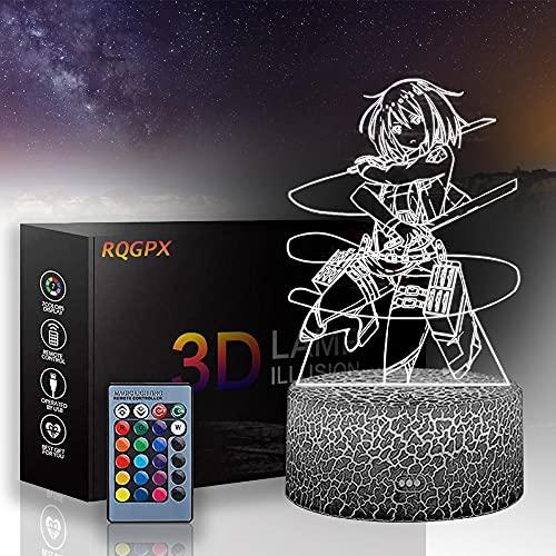 3D LED noche luz 3D lámpara de ilusión óptica Mikasa Ackerman B, cargador USB, juguetes bonitos regalos ideas cumpleaños vacaciones Navidad para bebé