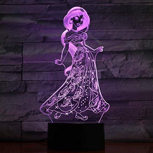 Lámpara de ilusión 3D LED luz nocturna princesa jazmín sosteniendo atmósfera chica dormitorio decoración colorido mejor cumpleaños regalo para niños