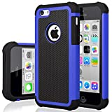 iPhone 5C Case, iPhone 5C Cover, Jeylly Shock Absorbing Hard Plastic Outer + Rubber Silicone Inner Scratch Defender Bumper Rugged Hard Case Cover for iPhone 5C - Blue