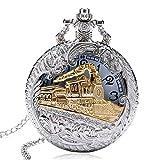 WLJBD Reloj de Bolsillo Vintage Vintage Encantador de Oro Tallado Tallado Abrigo SteelPunk Pocket Reloj Hombres Collar de Plata Colgante Relojes Retro Punk