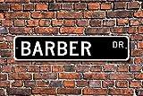 Barbería, Barbería, Barbería, Decoración de Barbería, Regalo para Barbería, Barbería, Decoración de Barbería, Cartel de Calle Personalizado, Señal de Metal de calidad, 10,16 x 45,72 cm