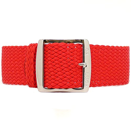 DaLuca Cinturino intrecciato in perlon nylon, rosso (fibbia lucida), 24 mm
