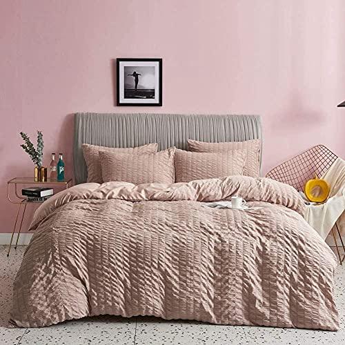 Conjunto de Ropa de Cama de 3 Piezas Seersucker Set de Ropa de Cama con 2 almohadas-165x230cm + 2x50x65cm_Camello