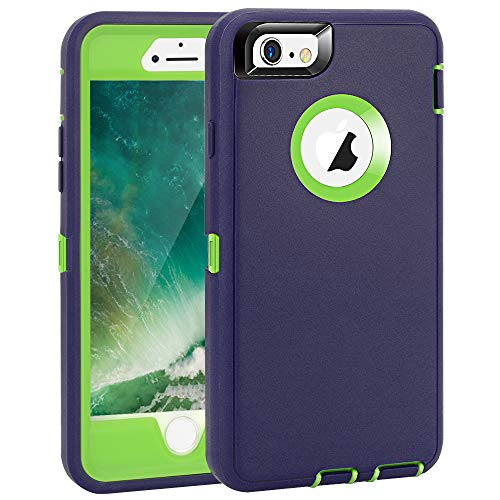 """iPhone 6 Plus/6S Plus Case, Maxcury Heavy Duty Shockproof Series Case for iPhone 6 Plus/6S Plus (5.5"""")-V2 with Built-in Screen Protector Compatible with All US Carriers (Navy/Lime)"""