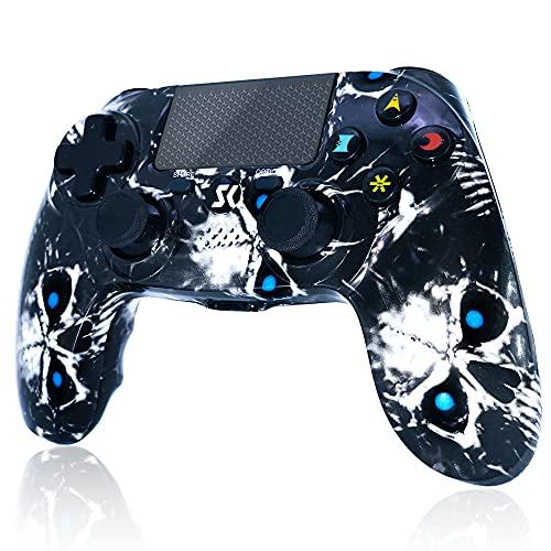 Mando inalámbrico para PS4, Controlador de Doble vibración de Alto Rendimiento Compatible con Playstation 4   Pro Slim PC con función de Audio, Mini LED - Skull