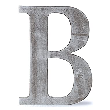 The Lucky Clover Trading LBL8CG-B B  Wood Block Letter, 8  L, Charcoal Grey