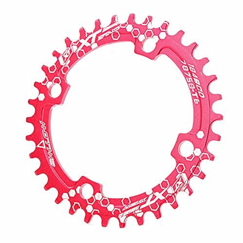 SHHMA 104BCD - Pedal de bicicleta simple, disco de dientes positivos y negativos para bicicleta de montaña, redonda, plana, rojo, 32T