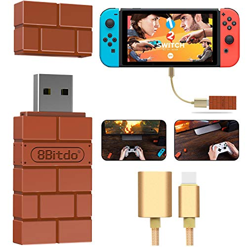 8Bitdo Wireless Controller Adapter For Nintendo Switch, Windows, Mac and Raspberry Pi,Compatible with all 8Bitdo Controllers, with a OTG Cable