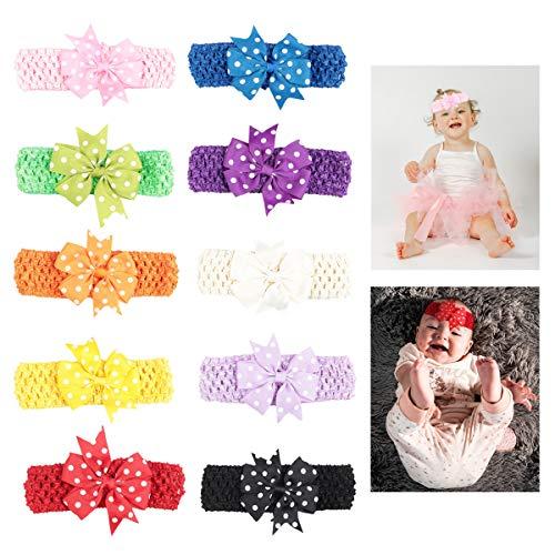 Diademas Bebe Lazo,Qiundar 20 Piezas Turbante Bebe Niña Recien Nacido Variados Cintas Pelo Bebe para Fotos de Bebés y Decoración de Disfraces de Fiesta(10 colores)