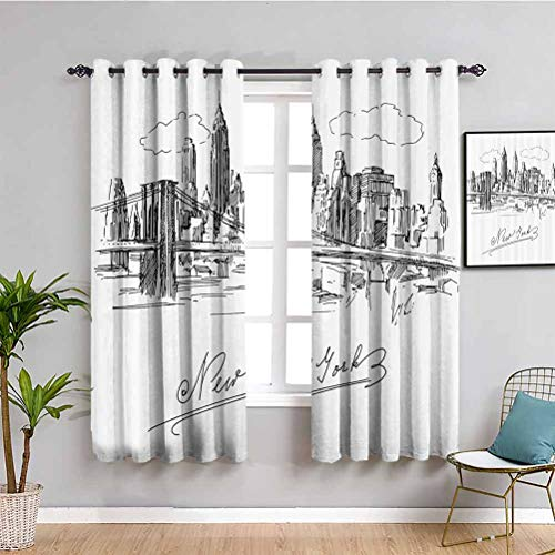 NYC Decor Collection Soundproof Curtains for Bedroom New York Contemporary Business Metropolis Corporate Town monochromic Sketch Indoor Curtain W63 x L63 Inch Black White