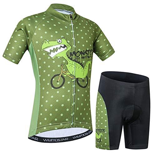 Cycling Jersey Shorts Set Padded Kids Bicycle Top Suit Children Bike MTB Shirt Boy Girl Mountain Road Clothing Short Racing Riding Tights Green XXL