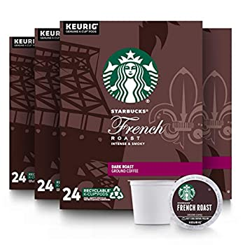 Starbucks Dark Roast K-Cup Coffee Pods - French Roast for Keurig Brewers - 4 Boxes  96 Pods Total