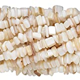 300 Natural Genuine Gemstone Stone Chip Beads in an Assorted Mix of Medium Sizes (Mother of Pearl Shell)