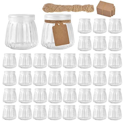 Betrome 4 OZ Glass Jars, Small Glass Pudding Yogurt Jar for Jam,Mousse,Yogurt,Wedding Favors, Shower Favors, Baby Foods(40 Pack)