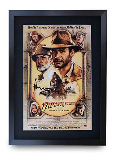 HWC Trading Indiana Jones and The Last Crusade A3 Gerahmte Signiert Gedruckt Autogramme Bild Druck-Fotoanzeige Geschenk Für Harrison Ford Filmfans