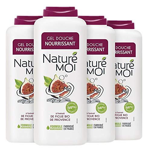 Naturé Moi – Gel Douche à L'Extrait de Figue Bio de Provence – Hydrate et Nourrit Les Peaux Normales à Sèches – Lot de 4 – 400Ml